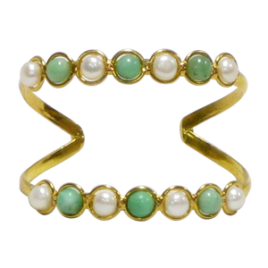 Gold White Metal Cuff-Pearl & Chrysoprase