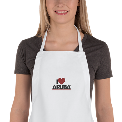 Embroidered Apron I love Aruba