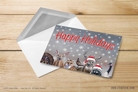 Deer Friends Happy Holidays Greeting Cards