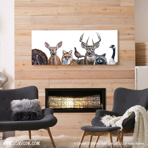 """Deer Friends"" White Signed and Numbered limited edition Canvas Prints, 3 sizes available"