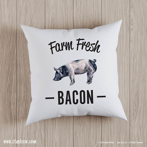 Farm Fresh Bacon throw pillow covers (2 sizes available)