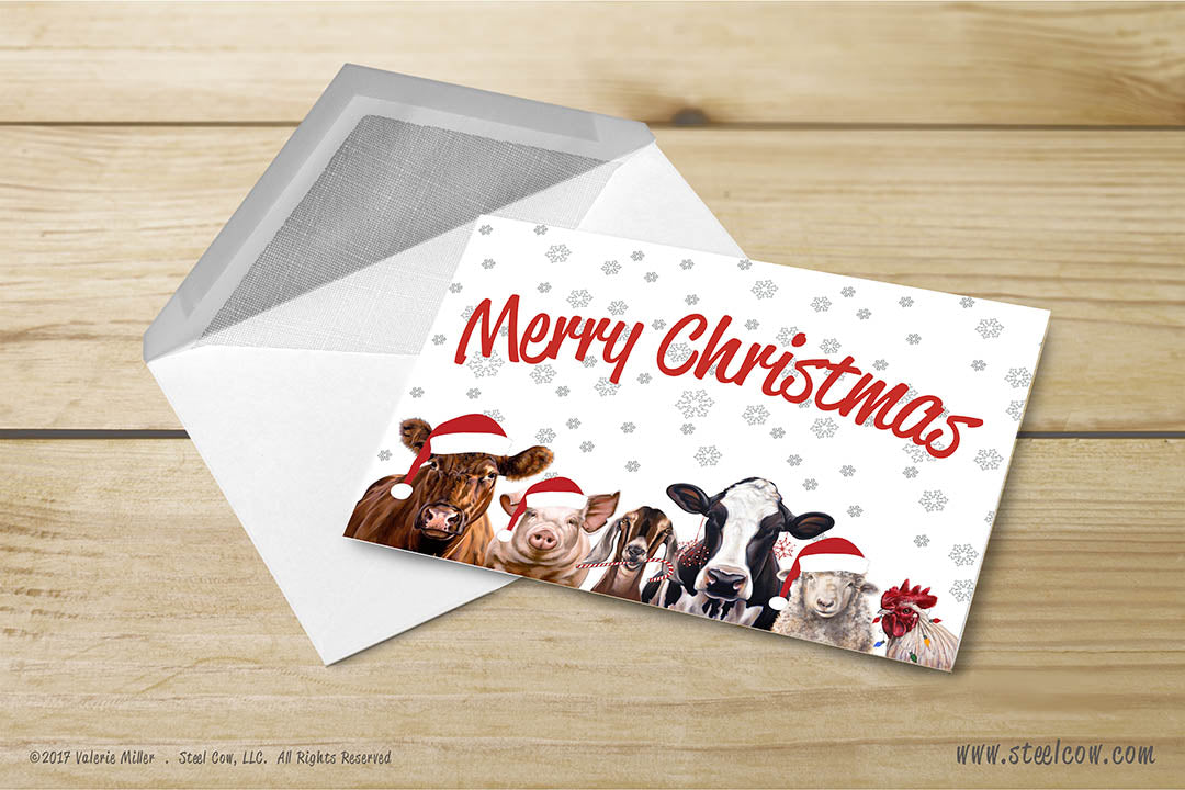 Merry Christmas Greeting Cards   Steel Cow
