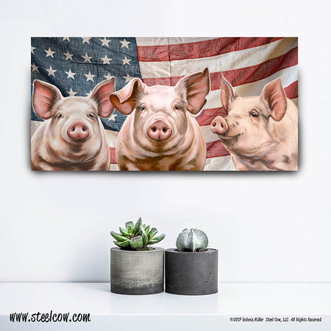 """Here, Piggy, Piggy, Piggy""™ Americowna Collection Canvas Prints (3 sizes)"