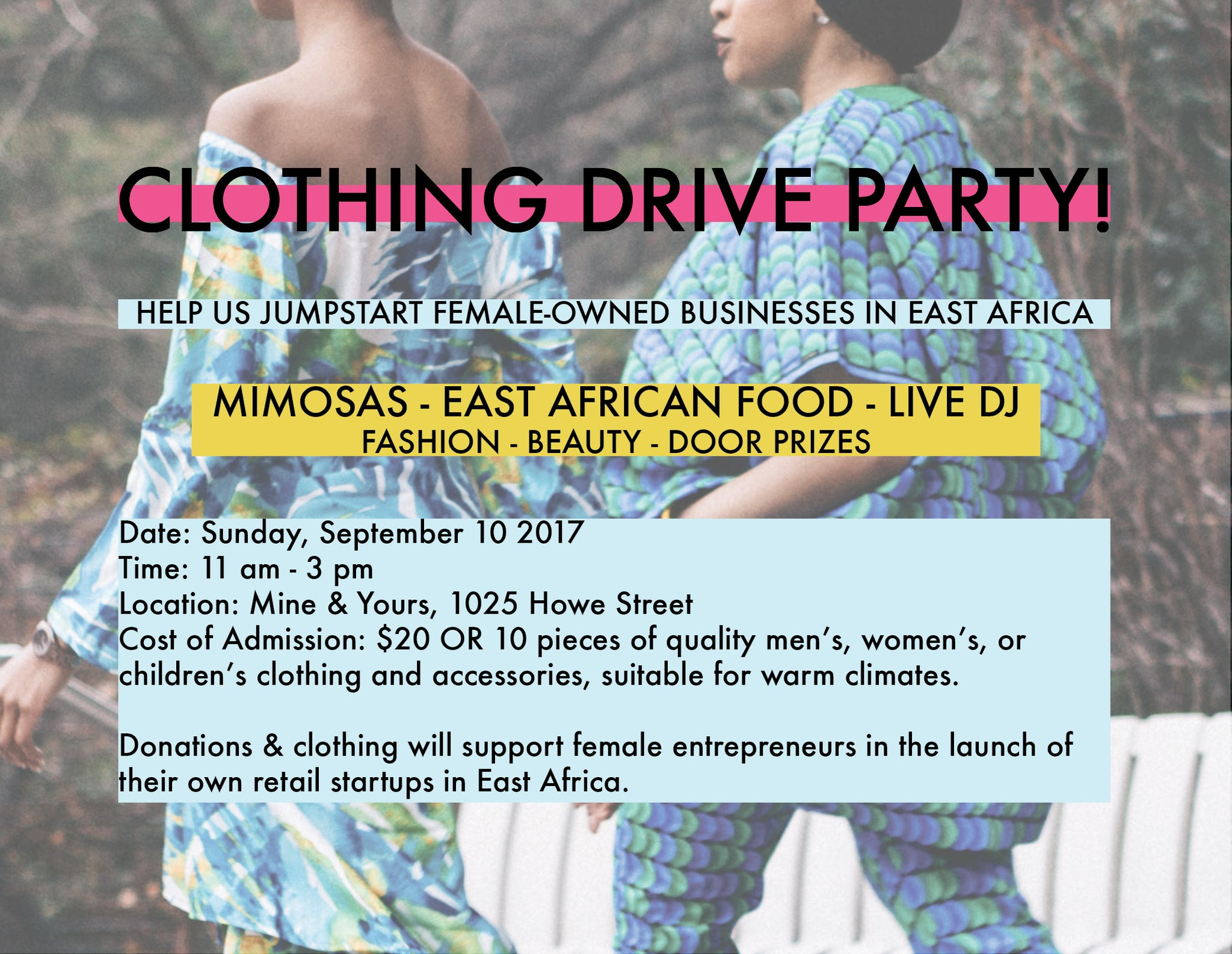You're invited to our clothing drive party... THIS SUNDAY!