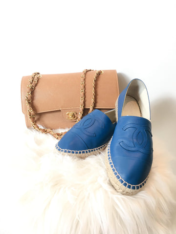 Chanel double platform Blue leather Espadrille.$695
