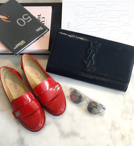 Chanel Red patent turnlock loafer.$495