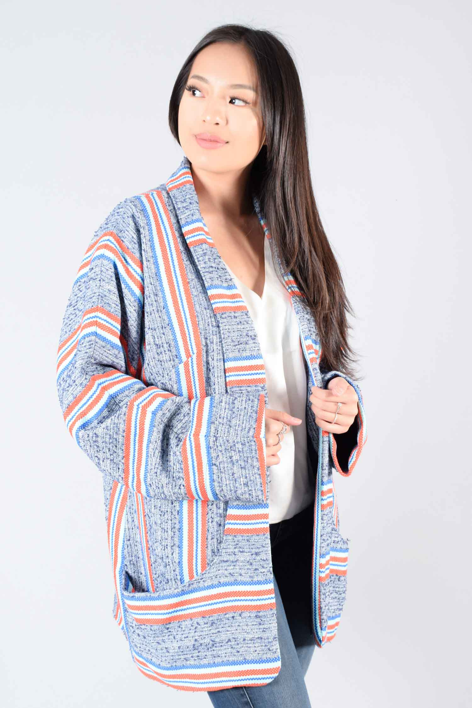 Smythe Blue Blazer w/ Orange Stripes Size L