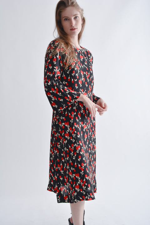 Marni Black & Red Floral Midi Dress with Flared Sleeves Size 46