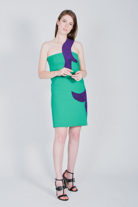 Versace Green & Purple Wool Cocktail Dress Size 38