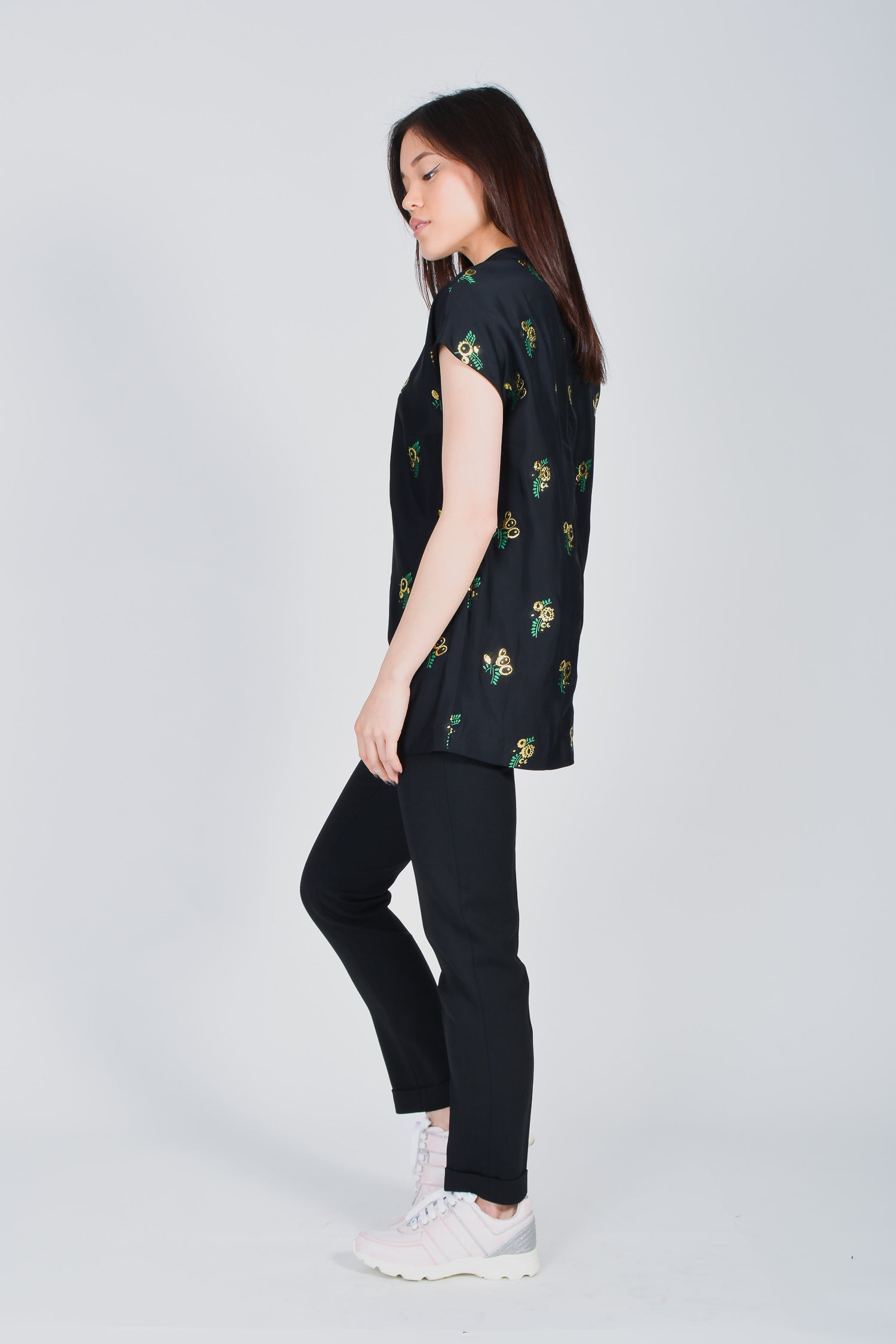 Stella McCartney Black Tunic with Gold Floral Details Size 40