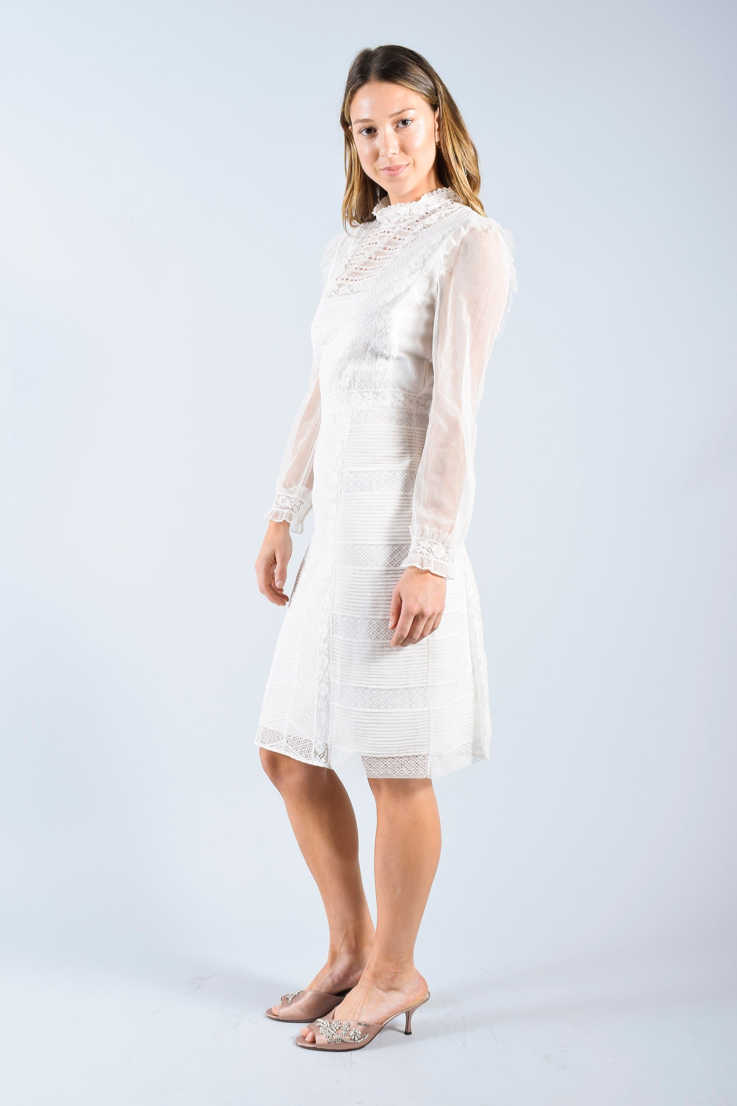 Burberry White Lace Long Sleeve Dress Size 8