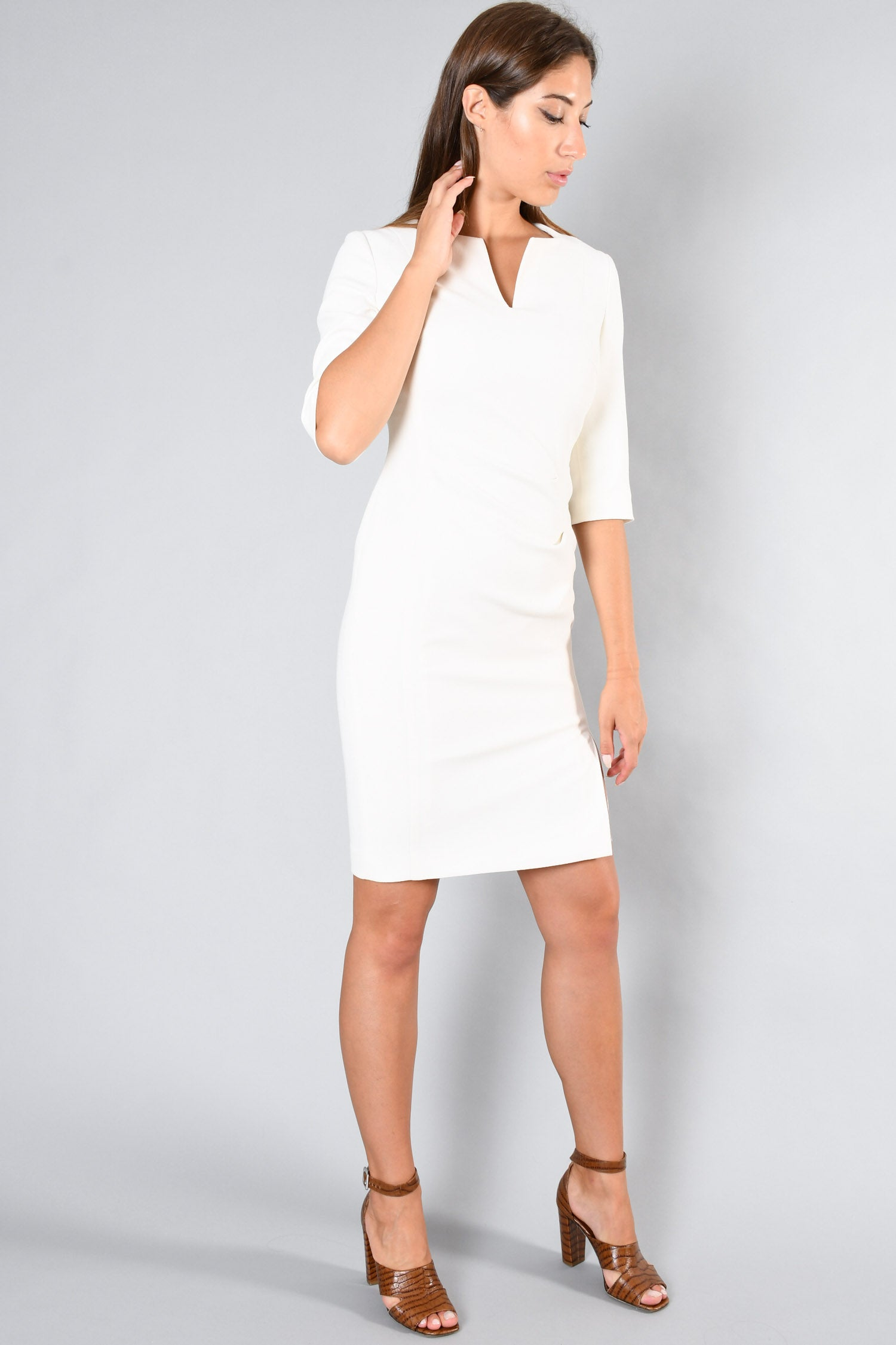 L.K. Bennett London Cream Quarter Sleeve Midi Dress Size 6 US