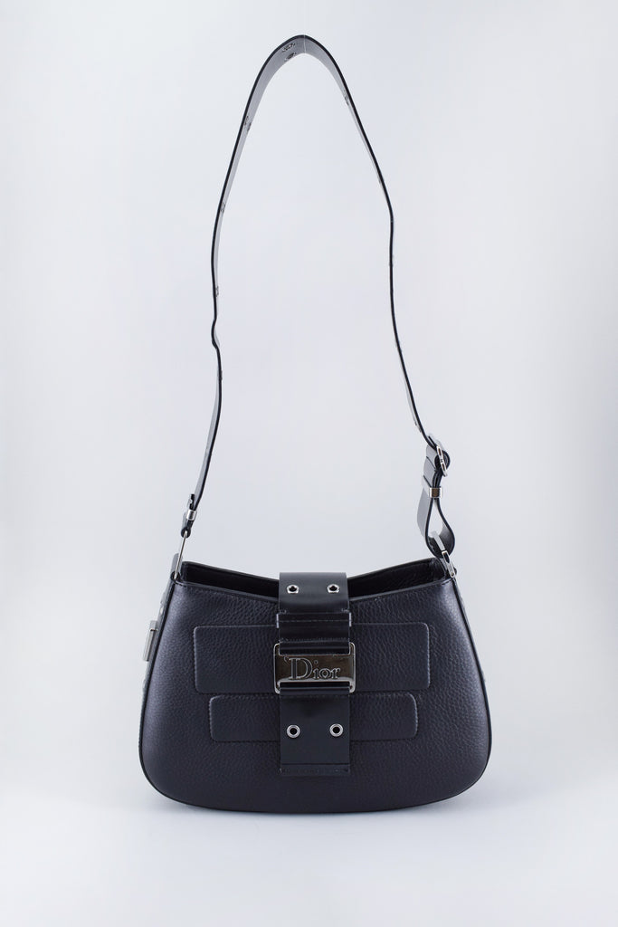 Christian Dior Black Leather Shoulder Bag w/ Eyelets