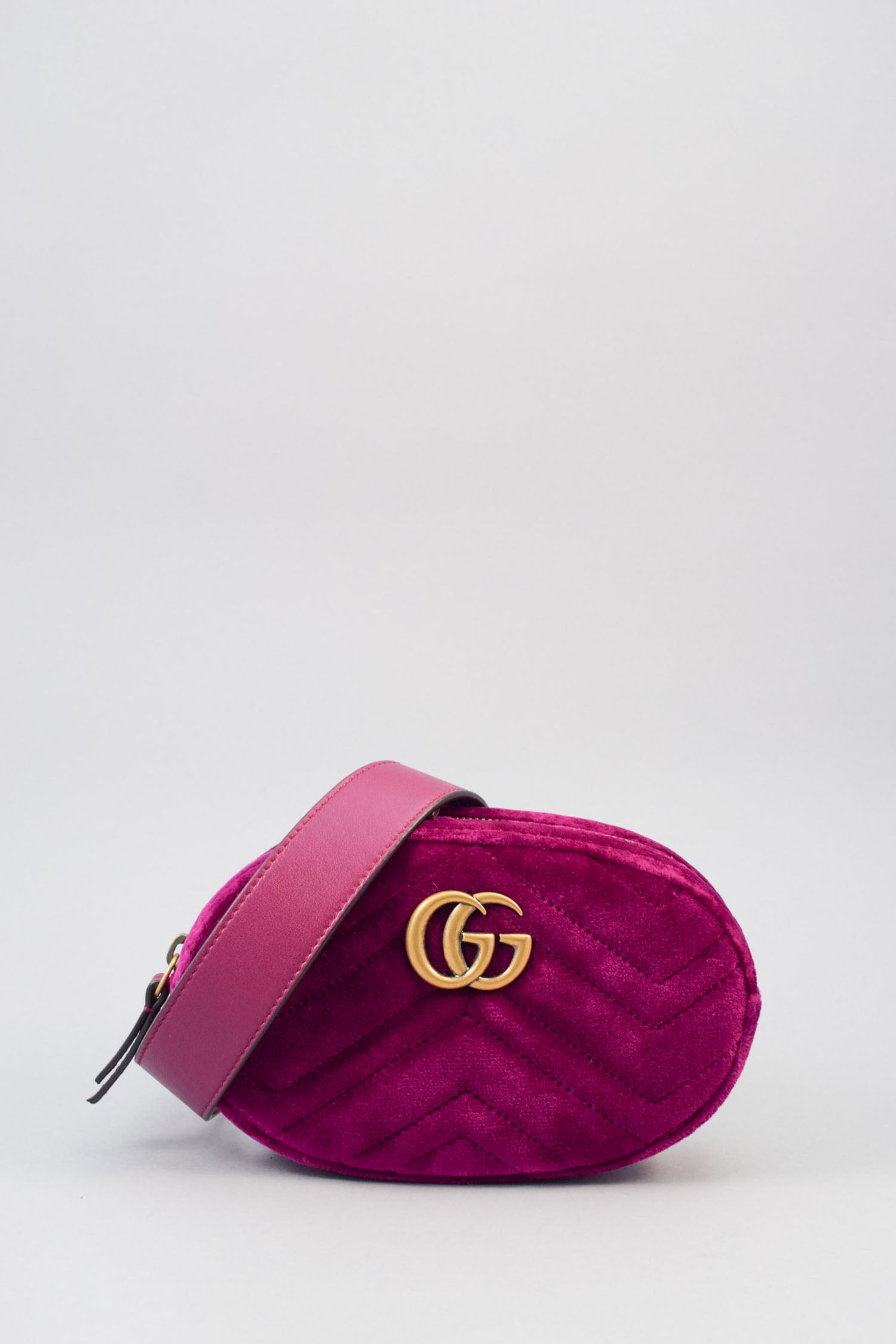 Gucci Bordeaux Velvet GG Marmont Belt Bag NWT