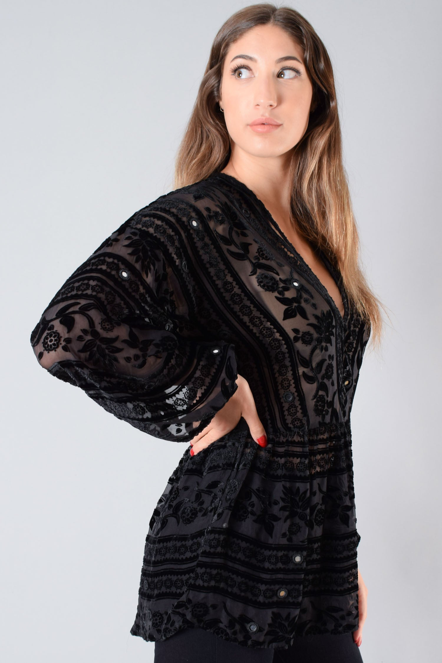 For Love & Lemons Black Mesh Embroidered L/S Coverup Size S