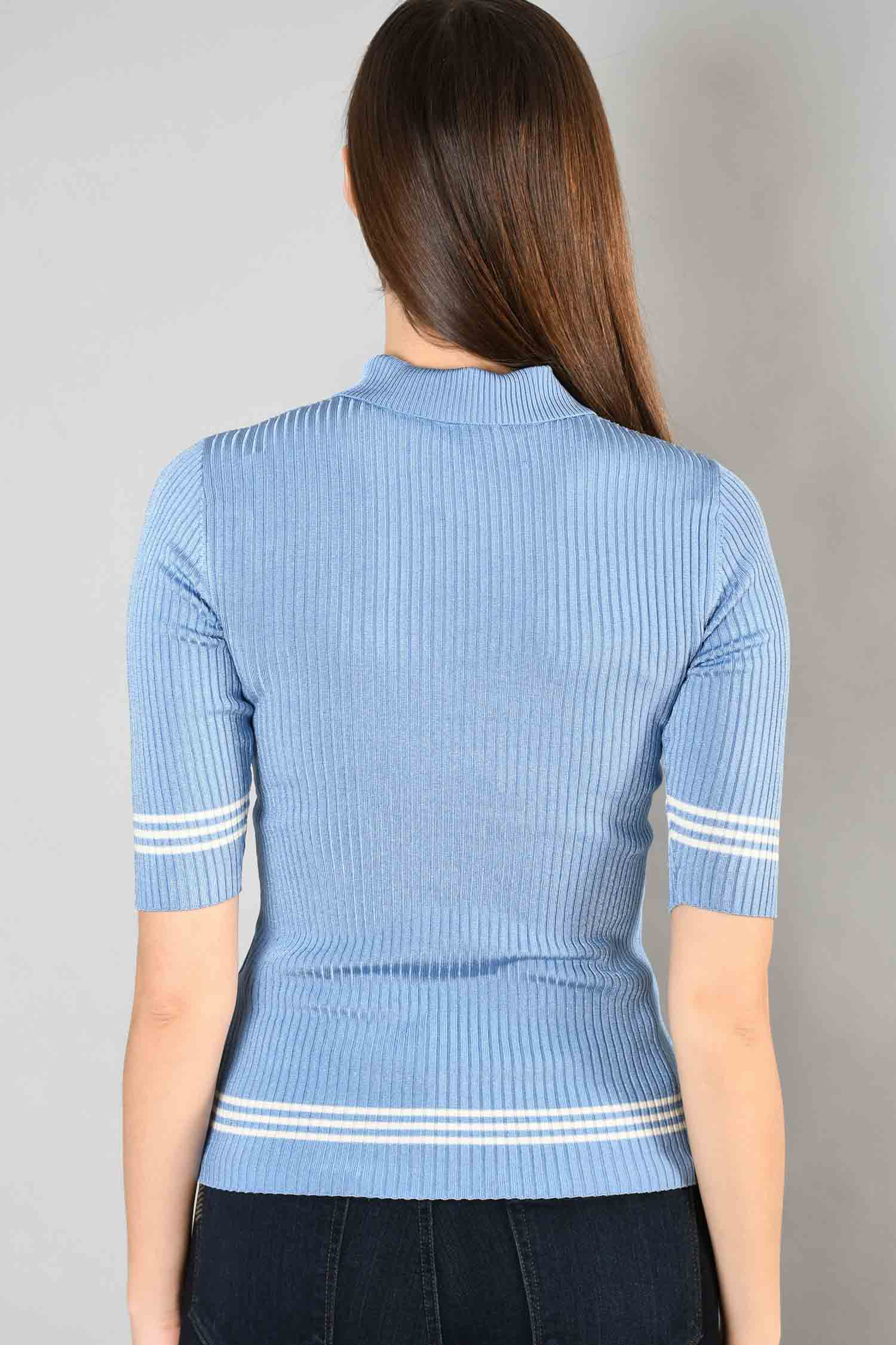 Sandro Blue Ribbed 3/4 Sleeve Top w/ White Stripes Size 1