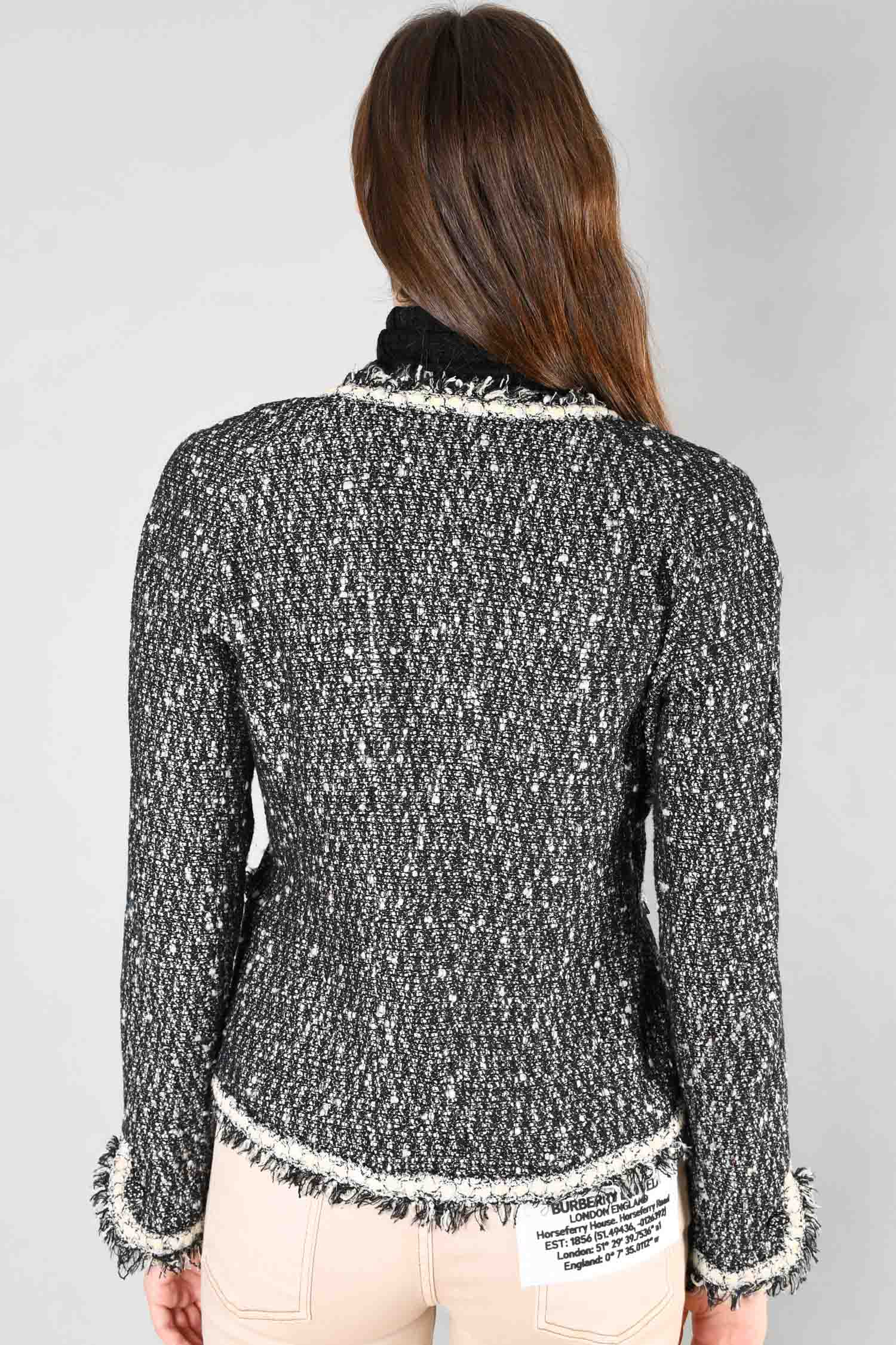 Chanel Black/Cream Tweed Fringe Blazer Size 42