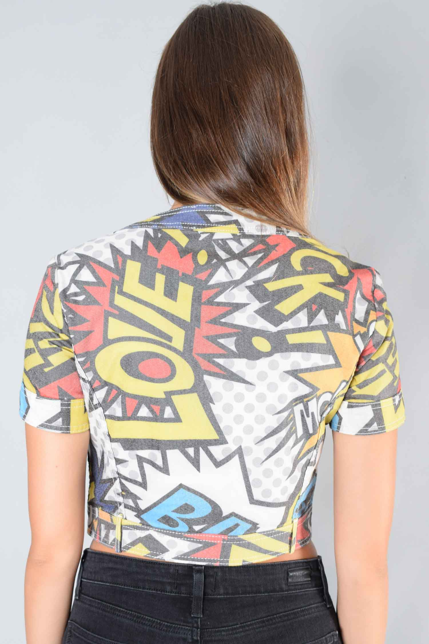 Love Moschino Comic Graphic S/S Button-Up Top Size 8 US