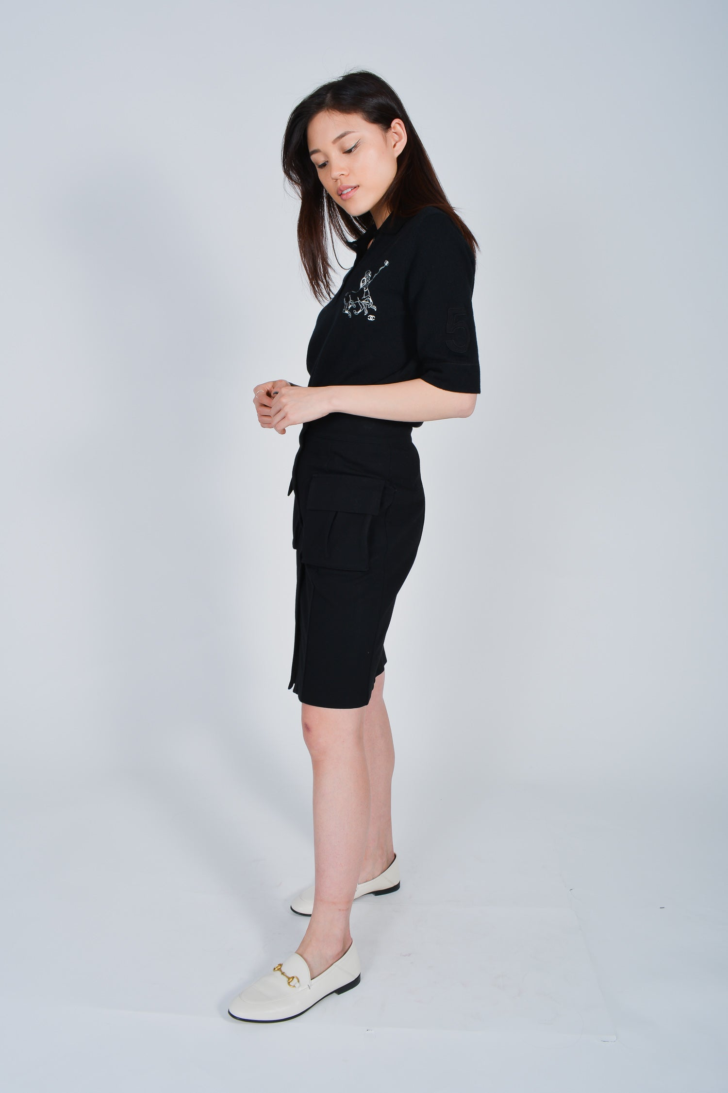 Chanel Black Cashmere Polo with Embroidery