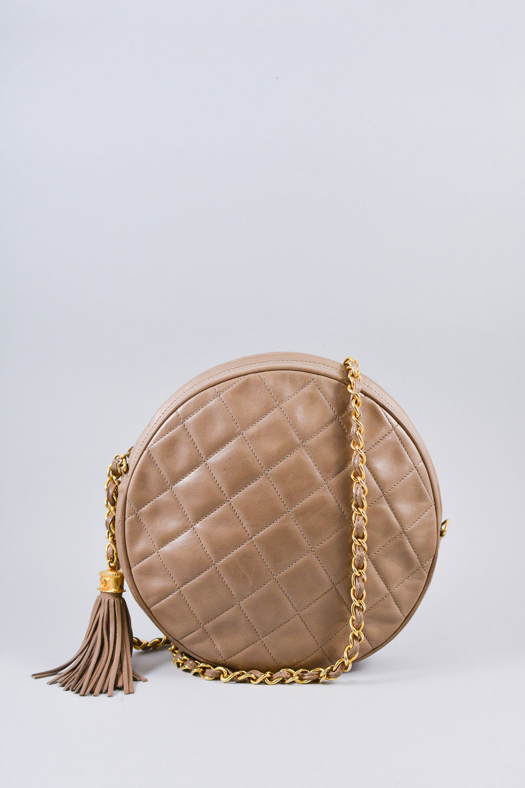 Chanel Beige Round Quilted Crossbody w/ Gold Chain