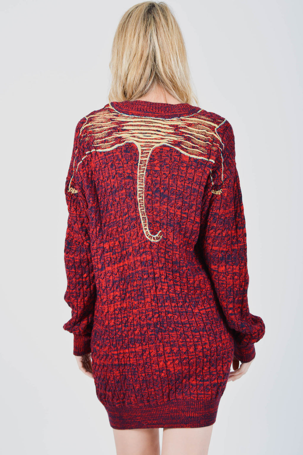 5195ba2f50f Kenzo Red Tiger Cable Knit Sweater Dress Size L – Mine   Yours ...