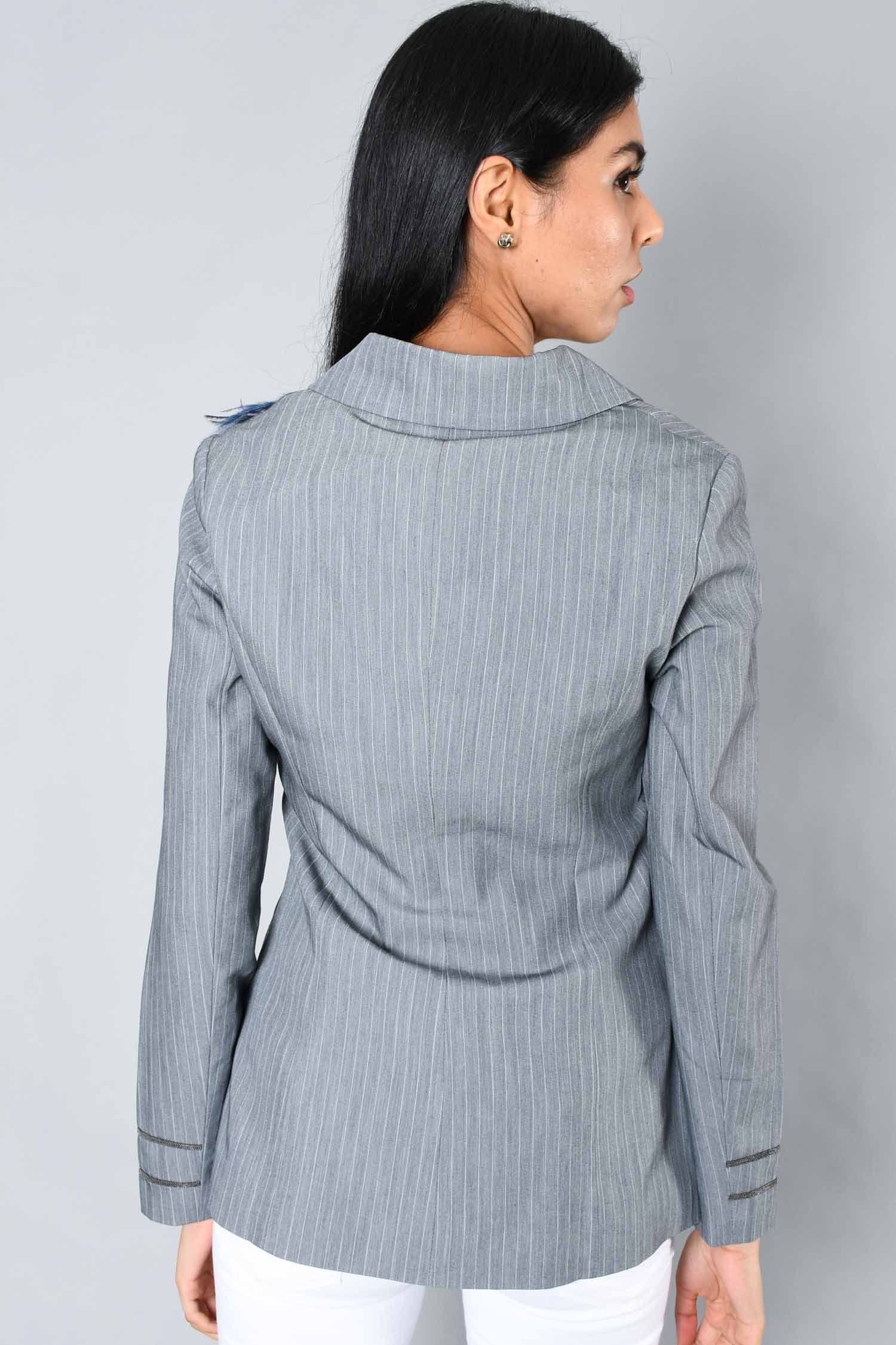 Brunello Cucinelli Grey Pinstripe Blazer w/ Removable Feather Detail Size S