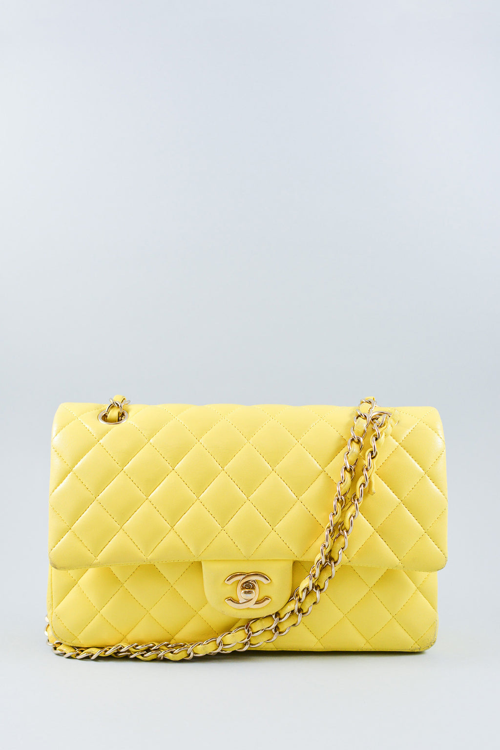 Chanel Yellow Lambskin Classic Double Flap