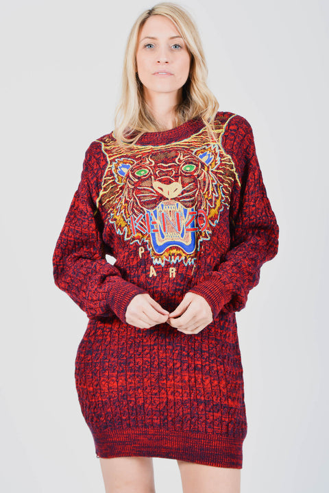 Kenzo Red Tiger Cable Knit Sweater Dress Size L