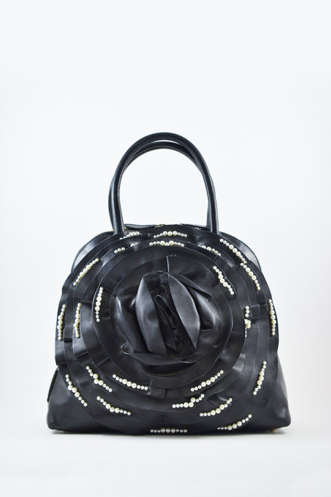 Valentino Black Leather Rose bag w/ Pearl Details