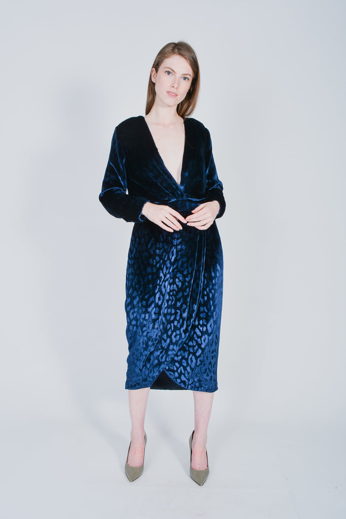Gucci Blue Velvet Dress in Leopard Print Size 44 IT