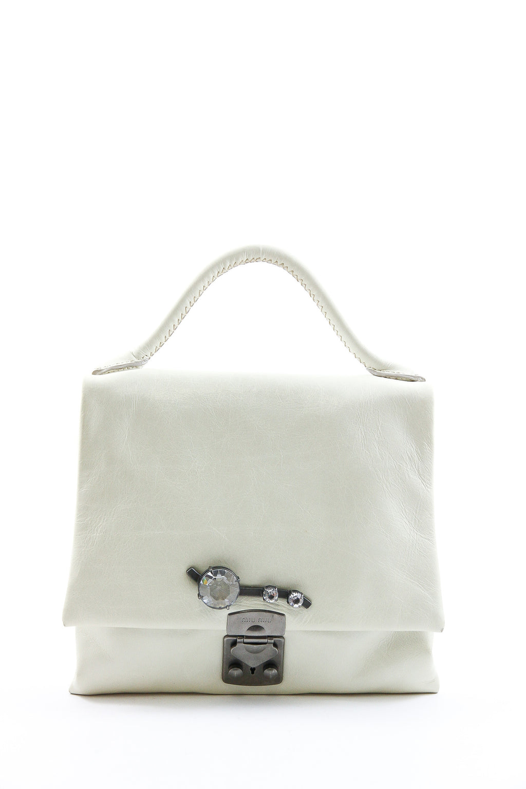 Miu Miu Off White Leather Crossbody with Jewel Detailing