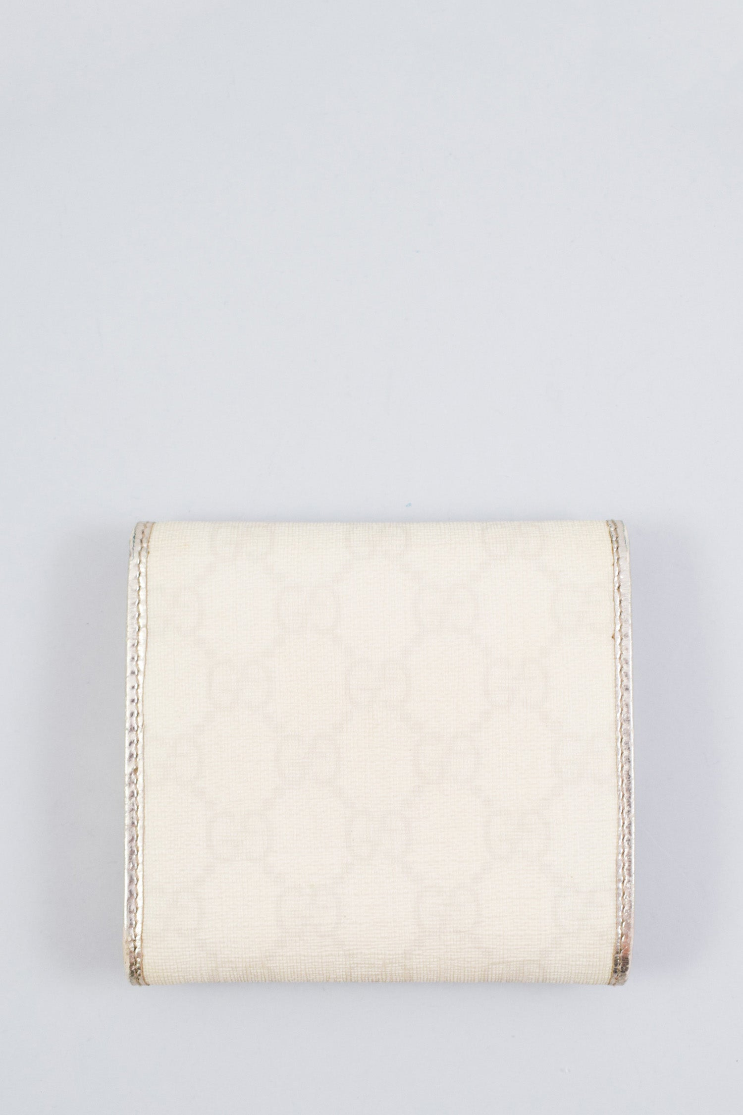 Gucci White Monogram Tri-Fold Wallet w/ Metallic Interior