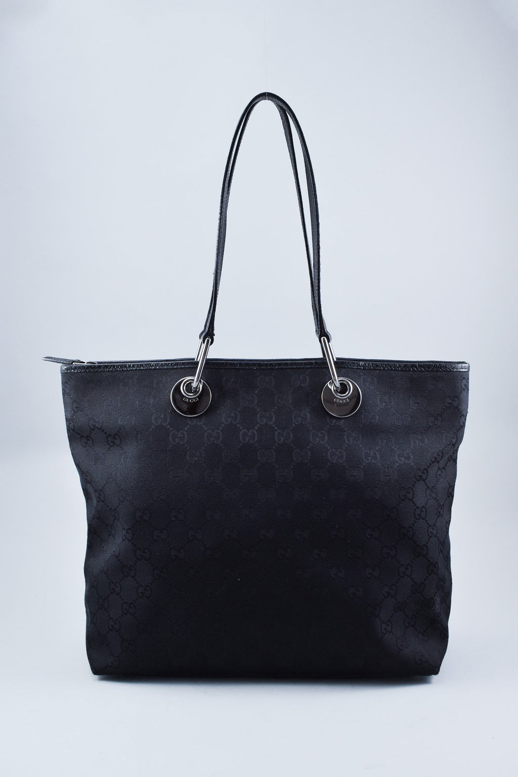 Gucci Black GG Canvas Tote w/ Leather Handles