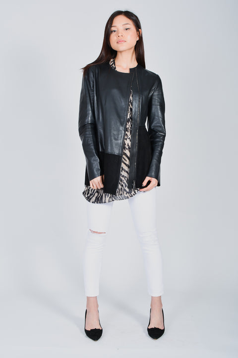 Sportmax Black Leather and Suede Jacket