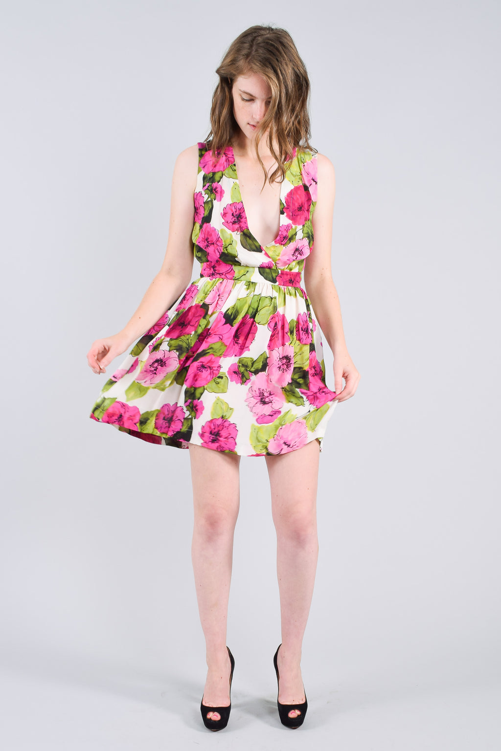 Dolce & Gabbana D&G Pink and Green Floral Dress Size 40