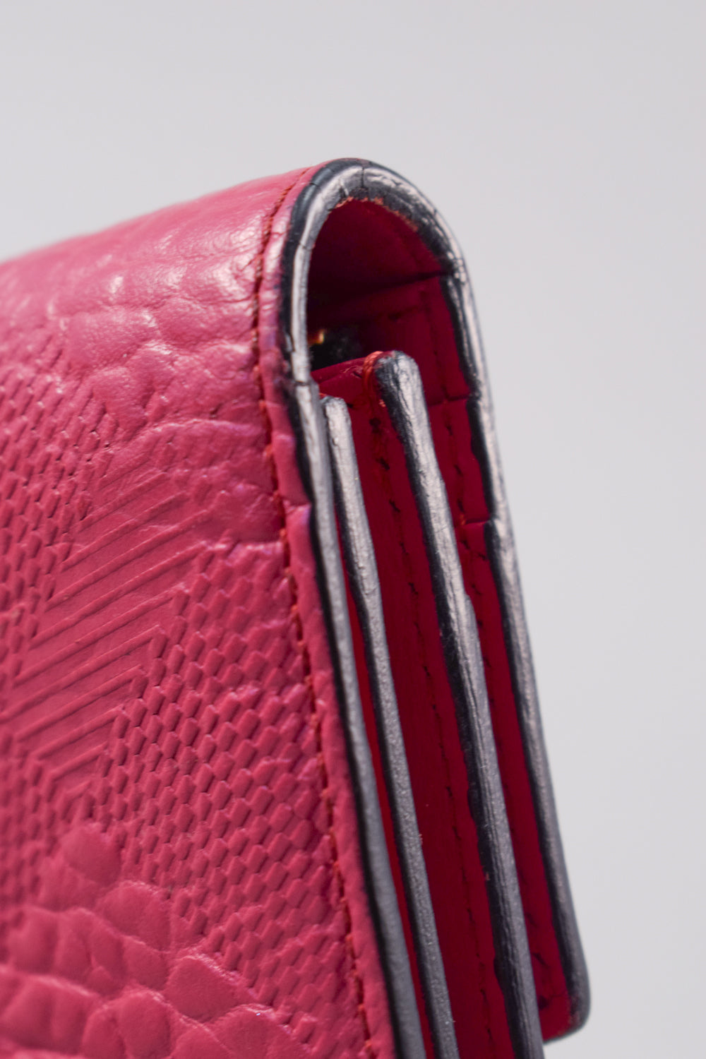Burberry Magenta Textured Leather Long Wallet