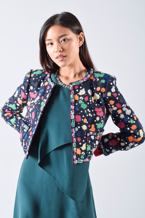 Chanel Spring 2015 Paint Splatter Cropped Jacket Size 38