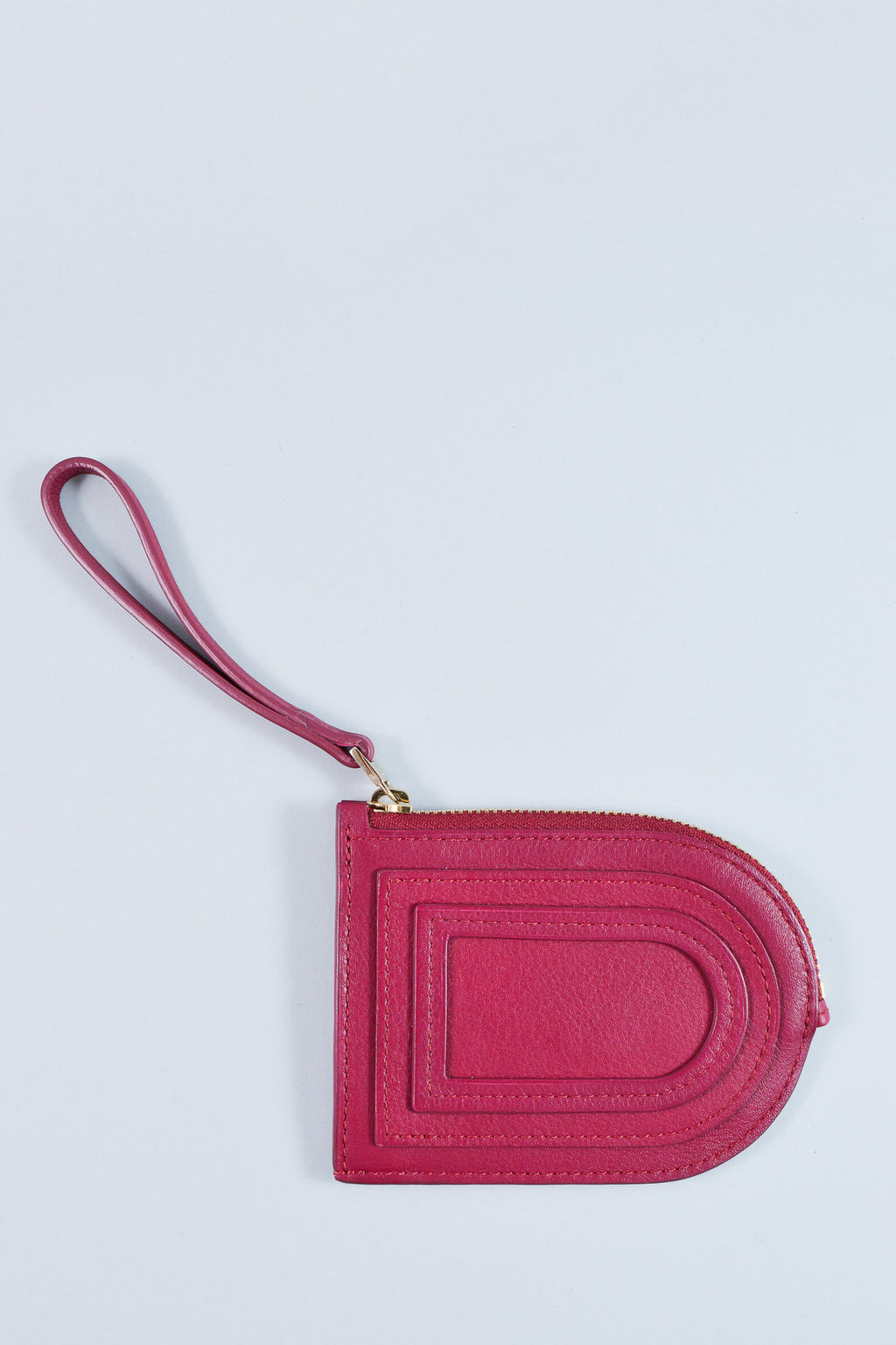 Delvaux Magenta Leather Zip Coin Purse