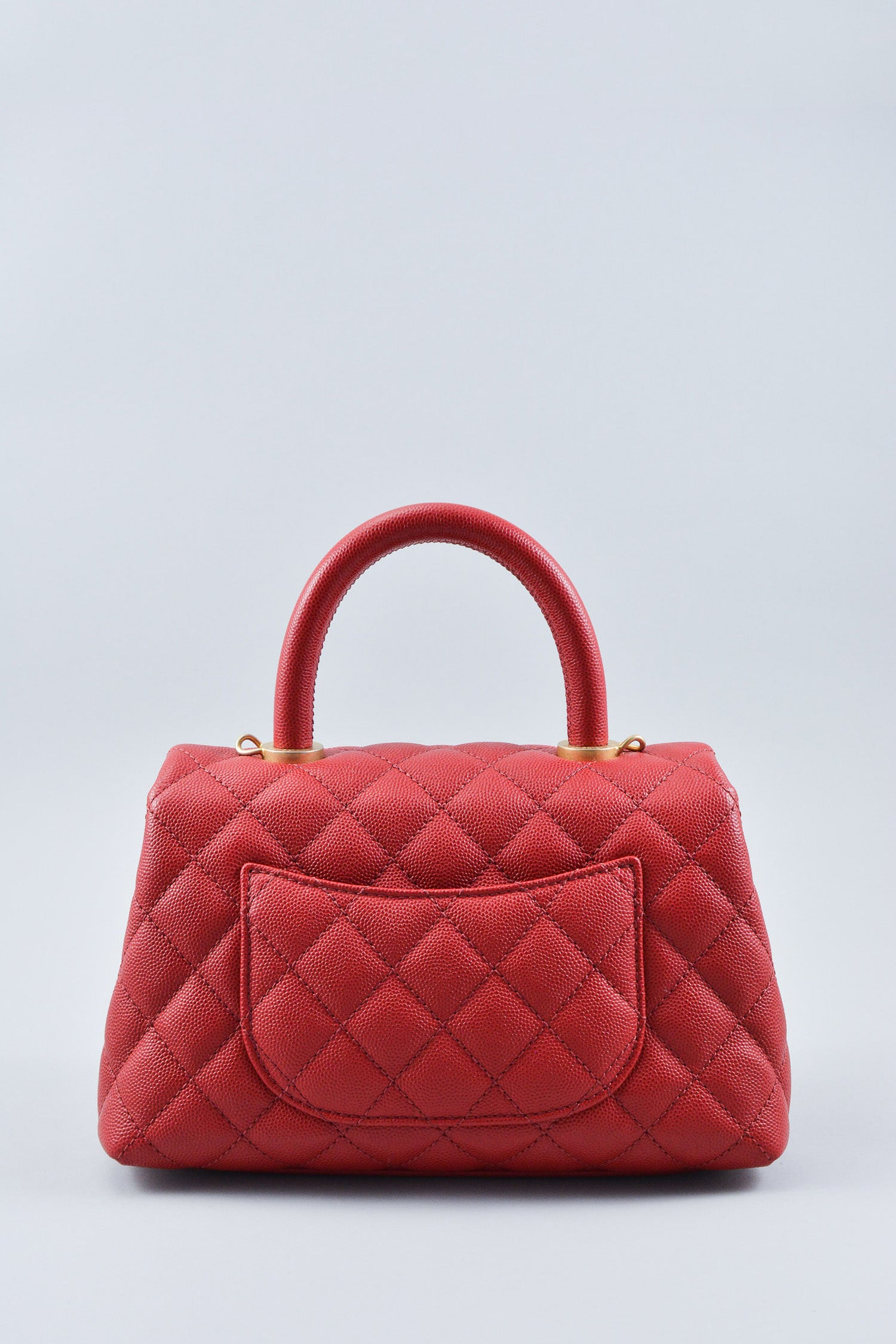 Chanel Red Top Handle Caviar Bag