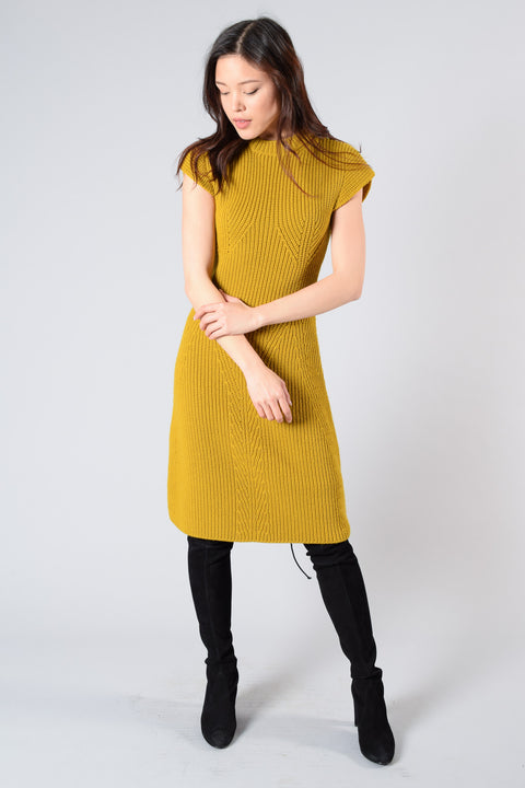 Carven Mustard Knit Sleeveless Dress Size S