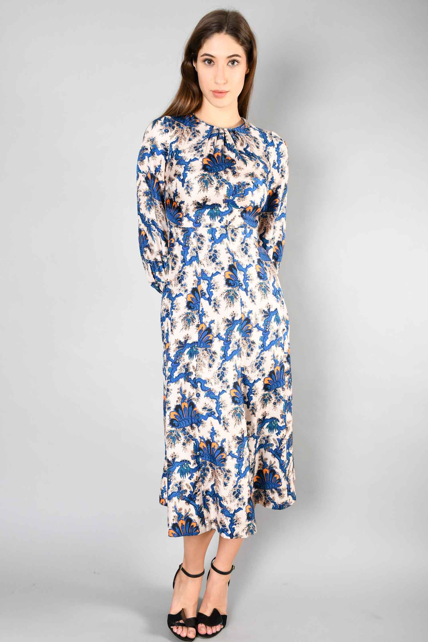 Sandro Cream/Blue Printed L/S Maxi Dress Size 36