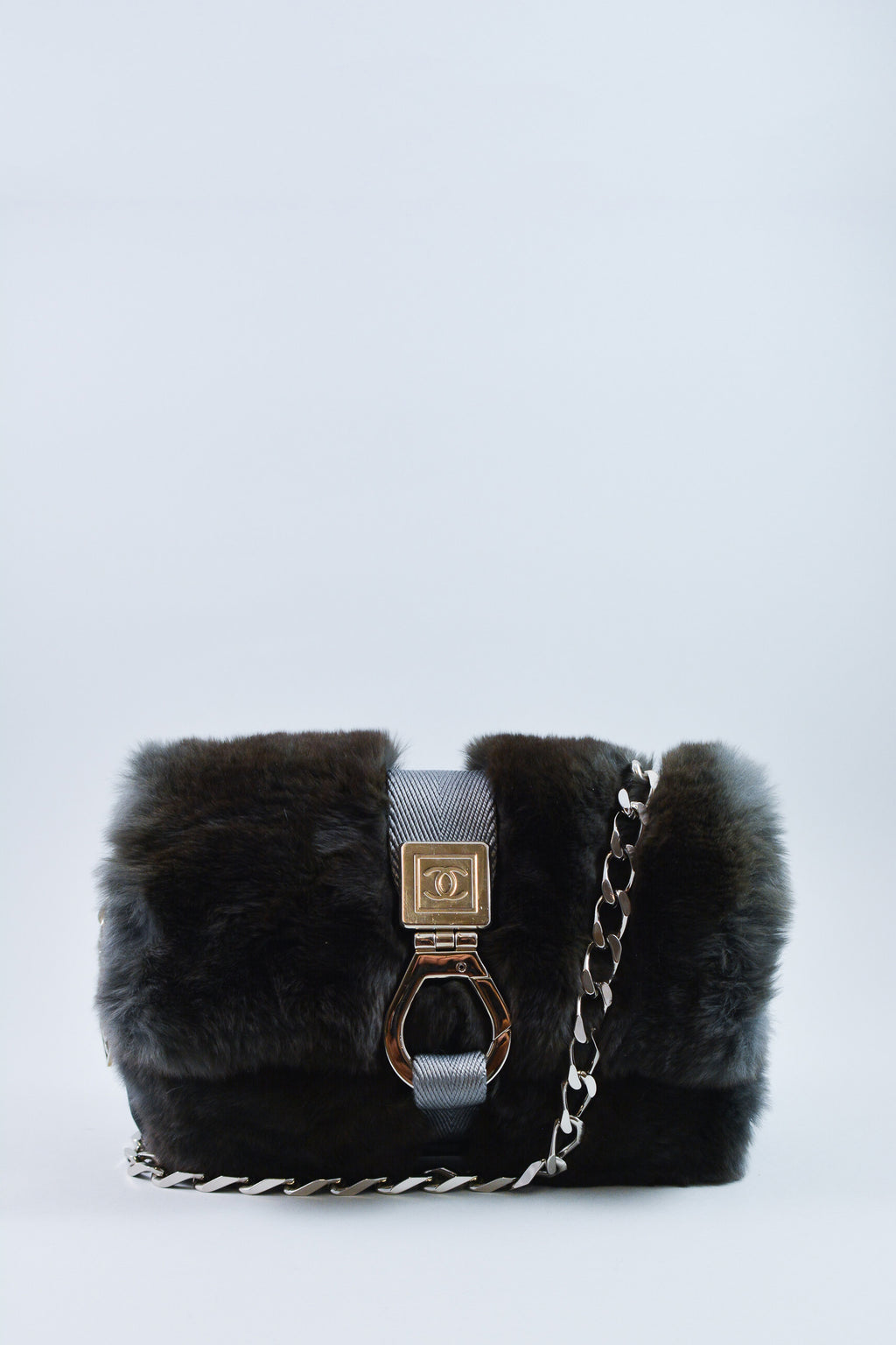 Chanel Rabbit Fur Flap Bag w/ CC Clasp Closure