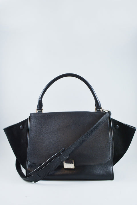 Celine Black Leather/Suede Medium Trapeze