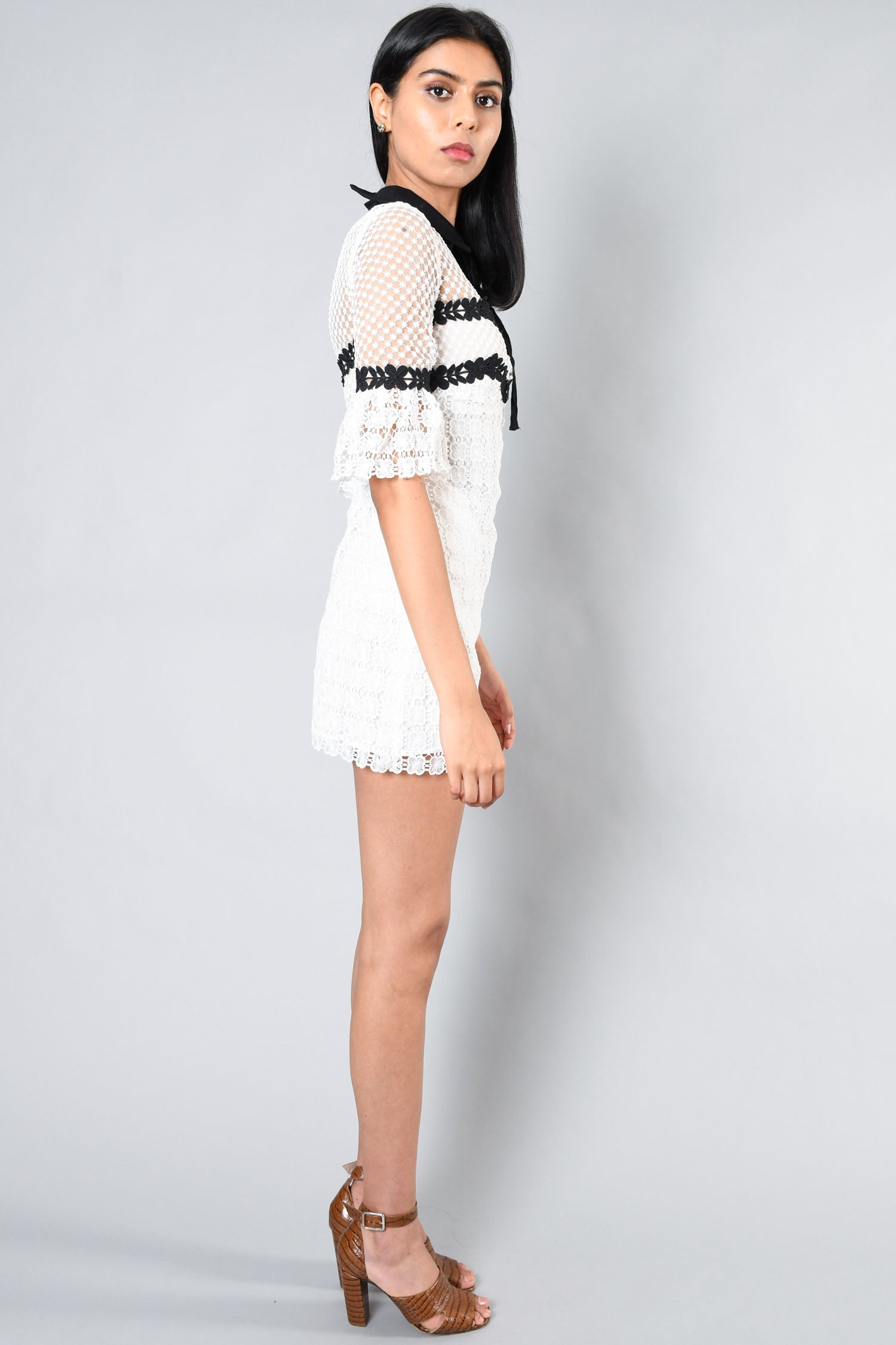 Self-Portrait White/Black Embroidered Lace Dress Size 0 US