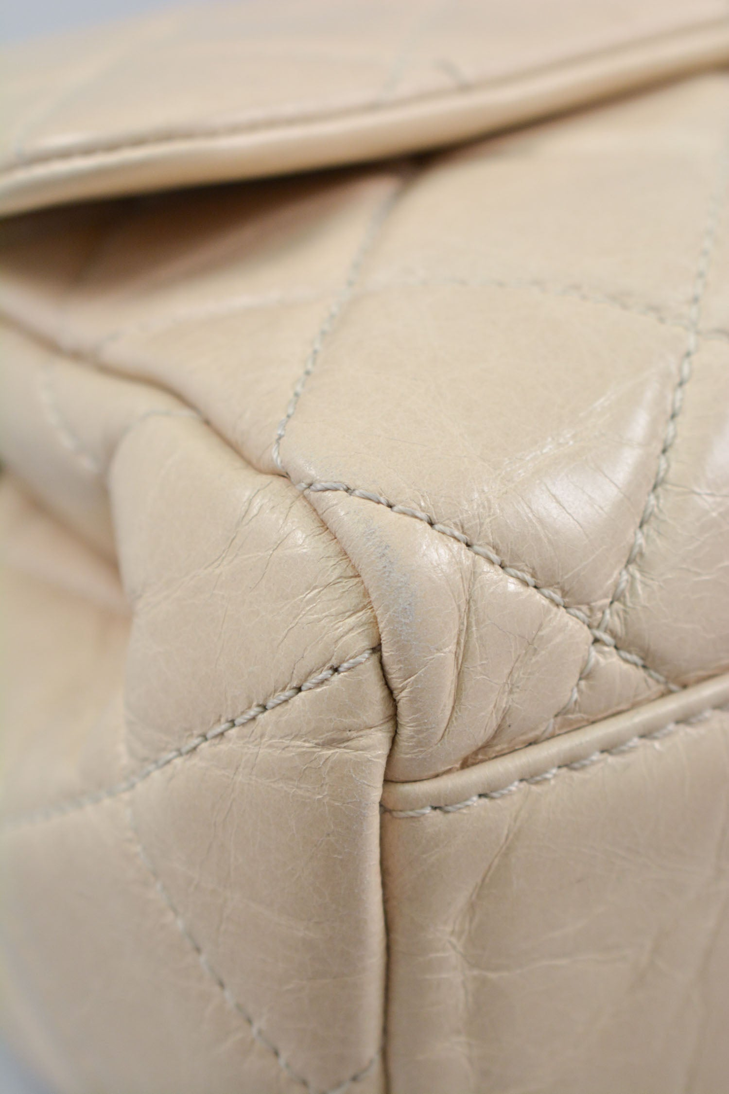 Chanel 2014/15 Cream Aged Calfskin Medium Single Flap