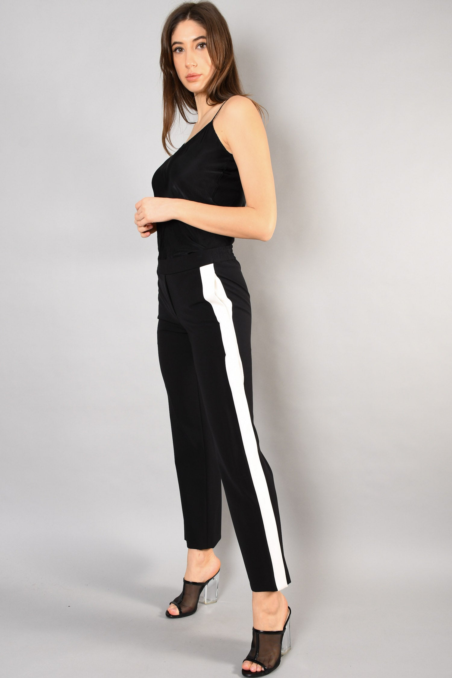 Theory Black Pants w/ White Stripe Size P