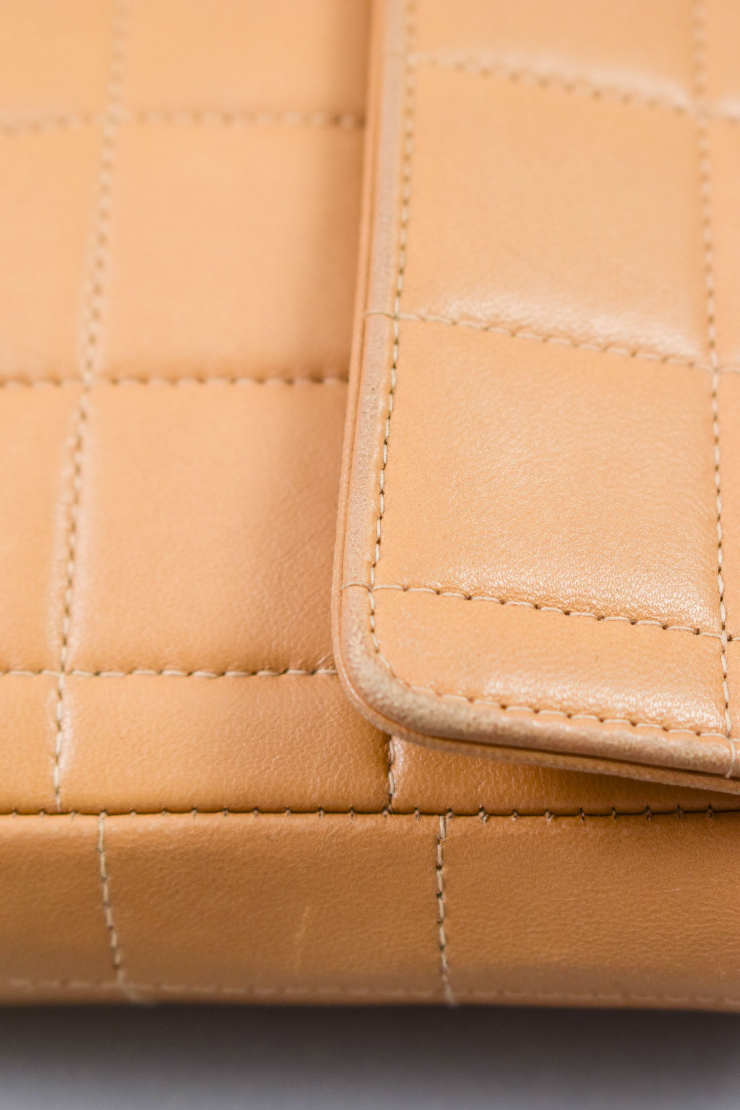 Chanel Camel Leather Quilted East West Chocolate Bar Bag
