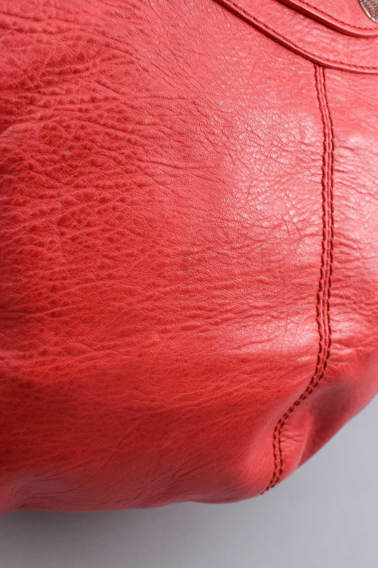 Balenciaga Red Leather Giant 21 Pompon Bucket Bag