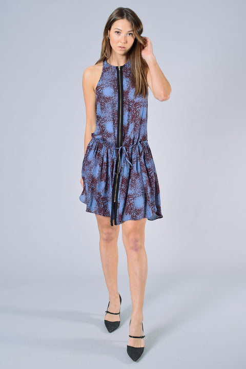 ALC Blue/Brown Printed Sleeveless Dress Size S