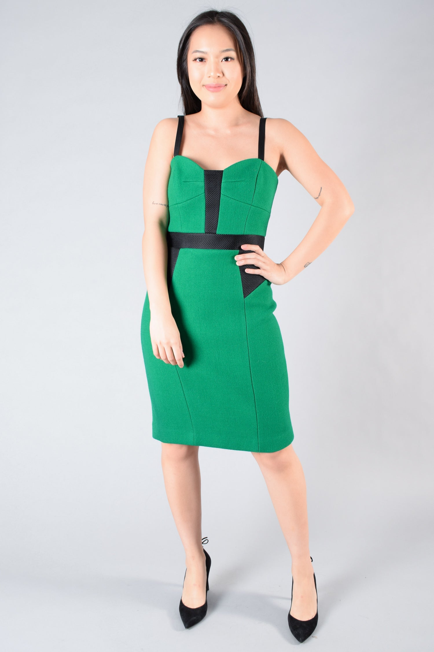 Milly Green/Black Structured Wool Dress Size 4
